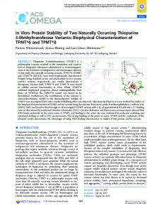 In Vitro Protein Stability of Two Naturally Occurring ... - ACS Publications