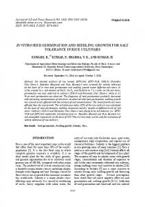 in vitro seed germination and seedling growth for ... - Semantic Scholar