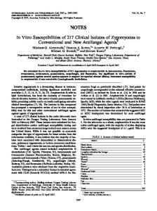 In Vitro Susceptibilities of 217 Clinical Isolates of Zygomycetes to ...