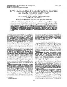 In Vitro Susceptibilities of Spotted Fever Group Rickettsiae and ...