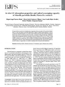 In vitro UV absorption properties and radical