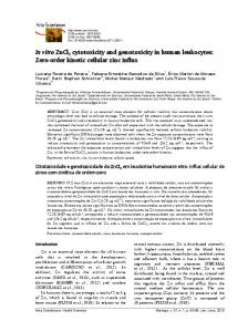 In vitro ZnCl2 cytotoxicity and genotoxicity in
