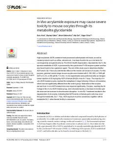 In Vivo acrylamide exposure may cause severe toxicity to ... - PLOS