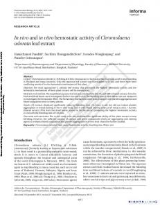 In vivo and in vitro hemostatic activity of Chromolaena