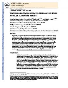 IN VIVO AXONAL TRANSPORT RATES DECREASE IN A MOUSE ...
