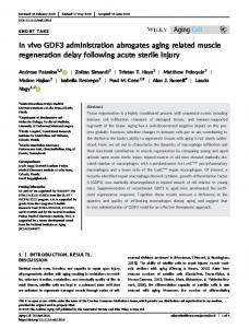In vivo GDF3 administration abrogates aging ... - Wiley Online Library