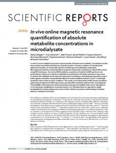 In vivo online magnetic resonance quantification of absolute ... - Nature