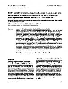 In vivo sensitivity monitoring of mefloquine ... - Wiley Online Library