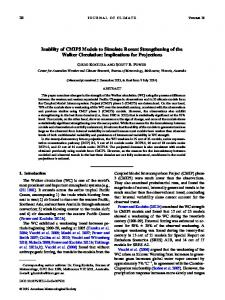 Inability of CMIP5 Models to Simulate Recent Strengthening of the ...