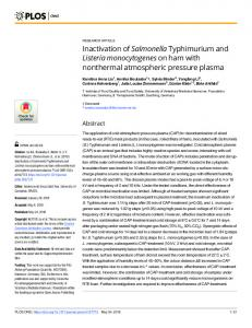 Inactivation of Salmonella Typhimurium and Listeria ... - PLOS