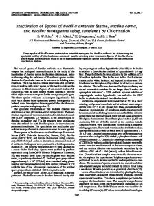 Inactivation of Spores of Bacillus anthracis Sterne, Bacillus cereus ...