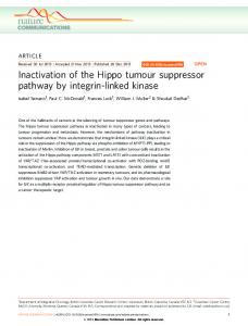 Inactivation of the Hippo tumour suppressor pathway ... - BioMedSearch