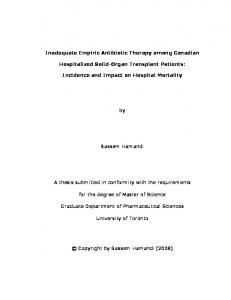 Inadequate Empiric Antibiotic Therapy - TSpace - University of Toronto