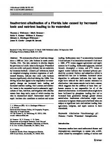 Inadvertent alkalization of a Florida lake caused by ... - Springer Link