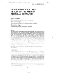 incarceration and the health of the african american ... - Sociology