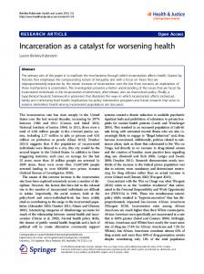 Incarceration as a catalyst for worsening health - Semantic Scholar