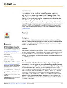 Incidence and outcomes of acute kidney injury in extremely ... - PLOS
