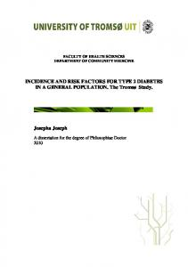 INCIDENCE AND RISK FACTORS FOR TYPE 2 DIABETES IN A