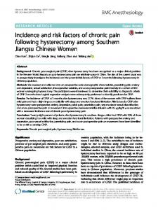 Incidence and risk factors of chronic pain following ... - Semantic Scholar