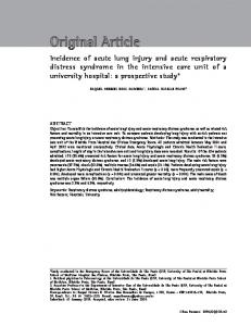 Incidence of acute lung injury and acute respiratory distress syndrome