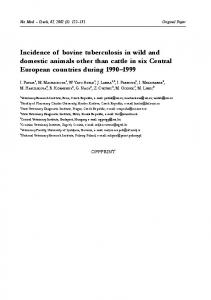 Incidence of bovine tuberculosis in wild and domestic animals other ...