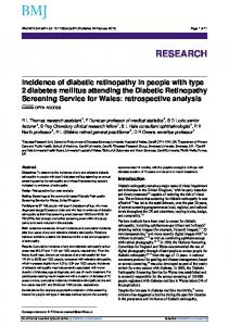 Incidence of diabetic retinopathy in people with type 2 diabetes ...