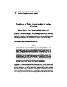 Incidence of Fetal Monstrosities in India: A Review