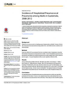 Incidence of Hospitalized Pneumococcal Pneumonia ... - CDC stacks