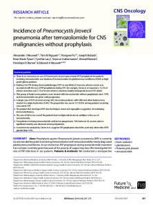Incidence of Pneumocystis jirovecii pneumonia after temozolomide for ...