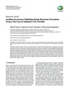 Incident Occurrence Modeling during Hurricane Evacuation Events ...