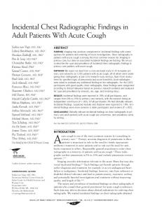 Incidental Chest Radiographic Findings in Adult Patients With Acute ...