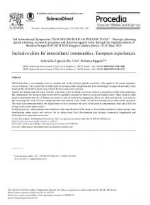 Inclusive Cities for Intercultural Communities ...
