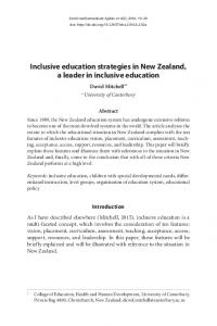 Inclusive education strategies in New Zealand, a leader in inclusive