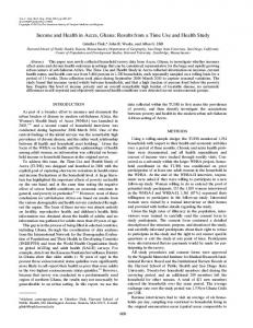 Income and Health in Accra, Ghana: Results from ... - Semantic Scholar