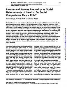Income and Income Inequality as Social Determinants