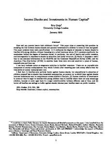 Income Shocks and Investments in Human Capital - Editorial Express
