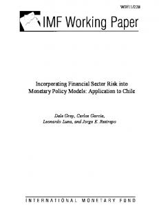 Incorporating Financial Sector Risk into Monetary Policy Models - IMF