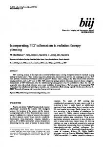 Incorporating PET information in radiation therapy ... - ScienceOpen