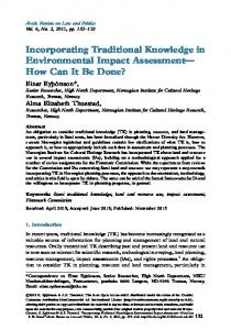 Incorporating Traditional Knowledge in Environmental Impact ...
