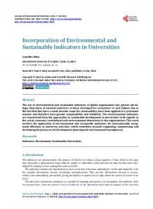 Incorporation of Environmental and Sustainable Indicators in ...