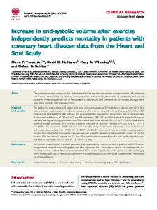 Increase in end-systolic volume after exercise