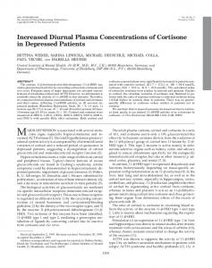 Increased Diurnal Plasma Concentrations of Cortisone in Depressed ...