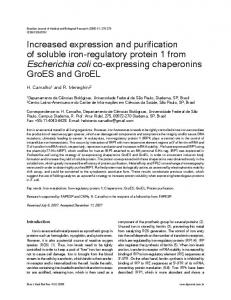 Increased expression and purification of soluble iron ... - Scielo.br