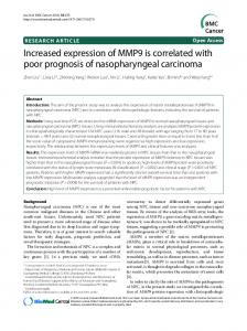 Increased expression of MMP9 is correlated with poor ... - Springer Link