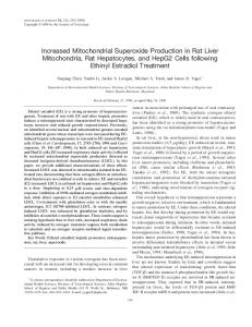 Increased Mitochondrial Superoxide Production in Rat Liver ...