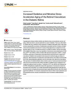 Increased Oxidative and Nitrative Stress Accelerates Aging of ... - PLOS