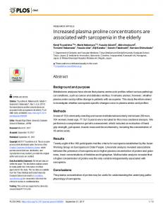 Increased plasma proline concentrations are