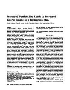 Increased Portion Size Leads to Increased ... - Wiley Online Library