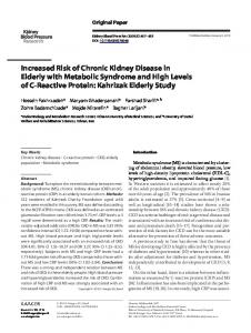 Increased Risk of Chronic Kidney Disease in Elderly with ... - TUMS