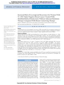 Increased Risk of Locoregional Recurrence for Women With T1-2N0 ...